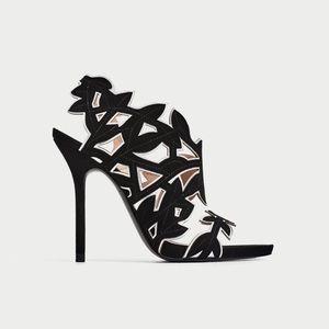 Zara Leather Leaves Heels US Size 7